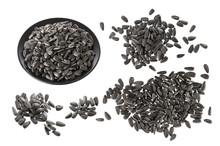 Black Sunflower Seeds Isolated On White Background