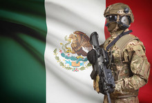 Soldier In Helmet Holding Machine Gun With Flag On Background Series - Mexico