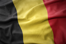 Waving Colorful Flag Of Belgium.