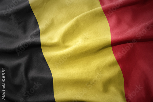 Plakat  waving colorful flag of belgium.