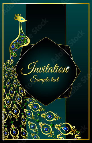 Wedding Invitation Or Card With A Peacock Jeweled On