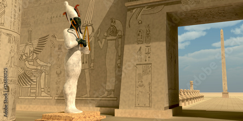 Photo Osiris Statue in Pharaoh Temple - Osiris in Pharaoh's temple was known as an Egyptian god of the afterlife and resurrection