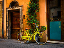 Bicycle Parked On The Street In Rome, Italy