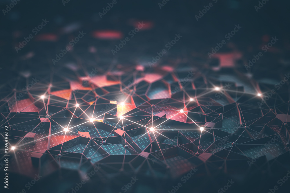 Fototapety, obrazy: Artificial intelligence, connections and nucleus in concept of interconnected neurons. Abstract background with binary numbers, neural network and cloud computing.
