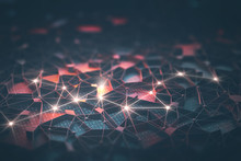 Artificial Intelligence, Connections And Nucleus In Concept Of Interconnected Neurons. Abstract Background With Binary Numbers, Neural Network And Cloud Computing.