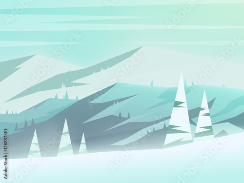 Fotobehang Lichtblauw Winter mountains landscape. Vector illustration