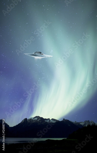 Poster UFO Northern Lights with UFO