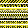 Vector set of seamless tapes. For restriction and dangerous zones. Yellow and black.