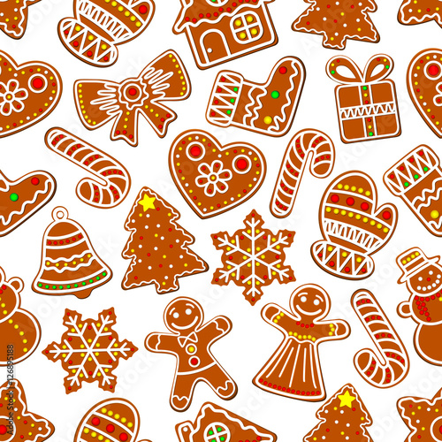 Cotton fabric Ginger cookie Christmas dessert seamless pattern