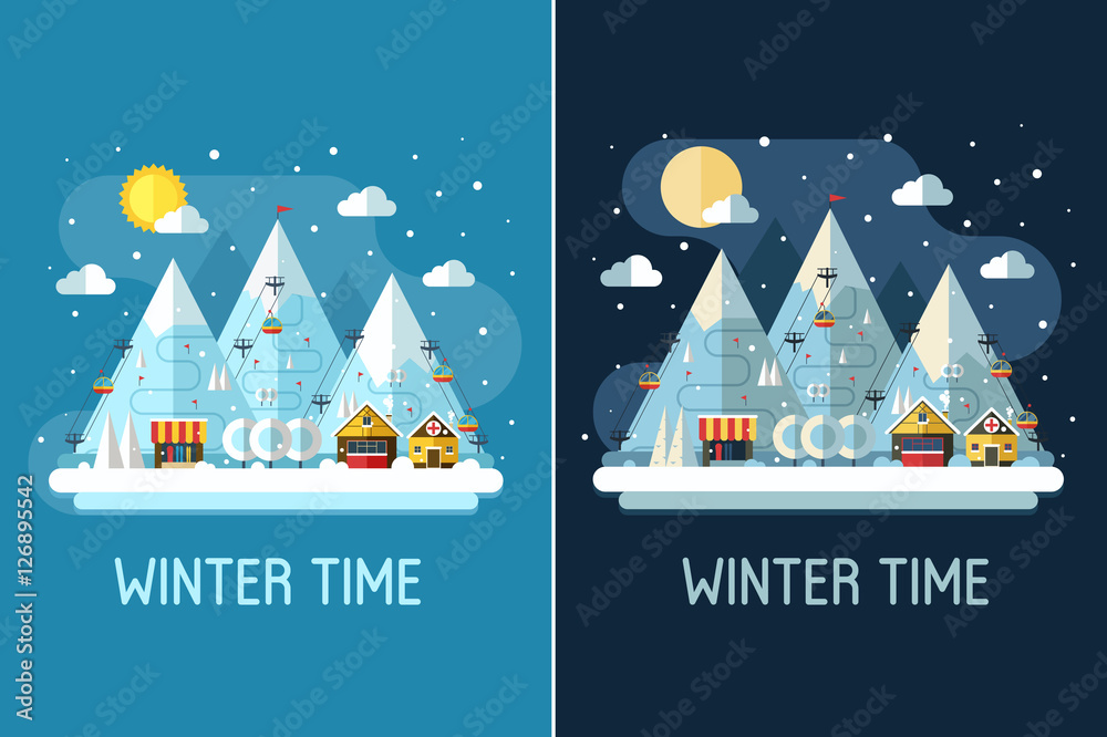 Fototapeta Winter travel landscape with ski resort by day and night. Winter posters with snow mountains, chalet, funiculars and ski slopes. Winter holidays backgrounds or vertical banners in flat design.