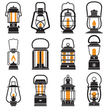 Vintage Lantern Set Isolated On White Background. Different Oil Lamp Collection. Modern And Retro Lanterns Flat Vector Illustration. Various Handle Gas Lamps And Camping Lanterns Silhouettes.