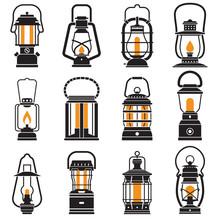 Vintage Lantern Set Isolated O...