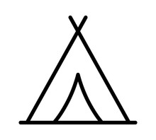 Camping Tent At Outdoor Camp Or Tipi / Teepee Line Art Icon For Apps And Websites