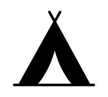 Camping Tent At Outdoor Camp Or Tipi / Teepee Flat Icon For Apps And Websites