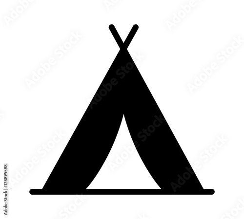 Photo Camping tent at outdoor camp or tipi / teepee flat icon for apps and websites