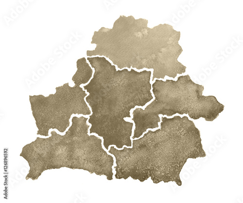 Obraz na plátně Hand drawn watercolor map of Belarus