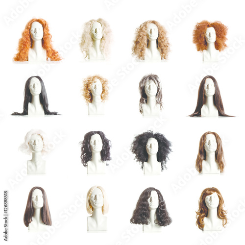 Fotografia Composite of Mannequin Female Heads with Wigs