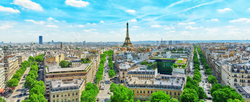 Photo Stands Paris Beautiful panoramic view of Paris from the roof of the Triumphal