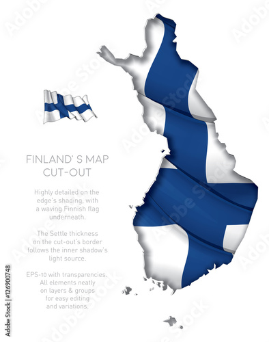 Finland Map Cut-Out with Waving Flag Wallpaper Mural
