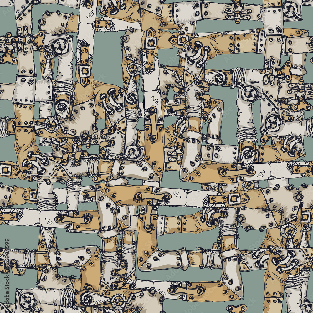 Steam punk seamless pattern  color background with pipes