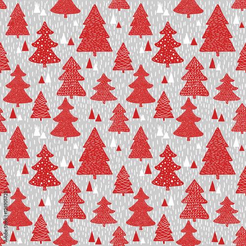 Stoffe zum Nähen Nahtloses Muster mit Hand gezeichnet Weihnachtsbäume