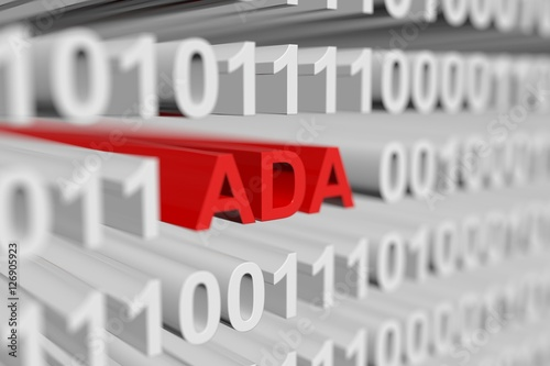 ADA as a binary code with blurred background 3D illustration Canvas Print