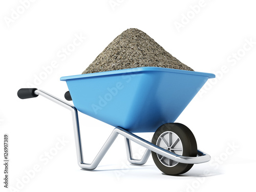 Photo Hand barrow isolated on white background. 3D illustration