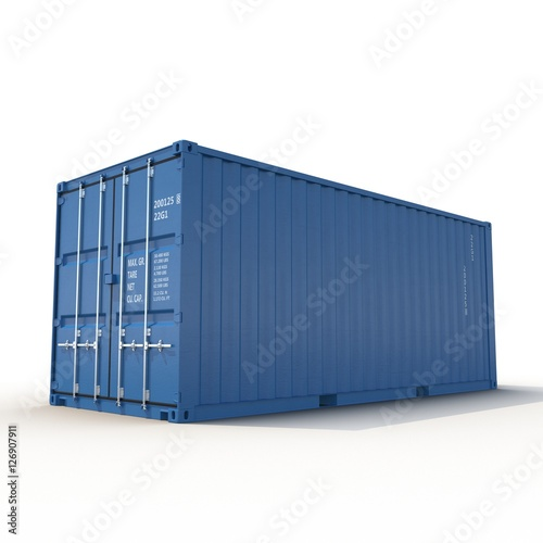 Fotografia  Blue freight shipping container isolated on white