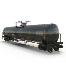 Railroad Fuel Tank On White. 3D Illustration