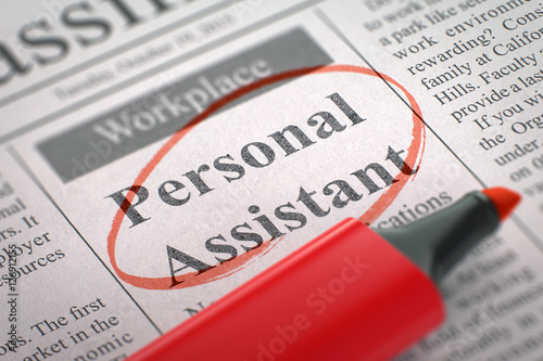 Valokuva  Now Hiring Personal Assistant. 3D.