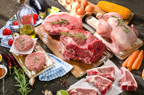 Door stickers Meat Different types of fresh raw meat