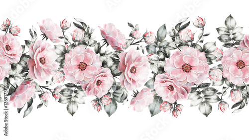 isolated seamless pattern border with flowers leaves vintage