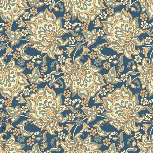 Tapeta ścienna na wymiar Ethnic Flowers Elegance Seamless Pattern. Vector Floral illustration in Vintage style