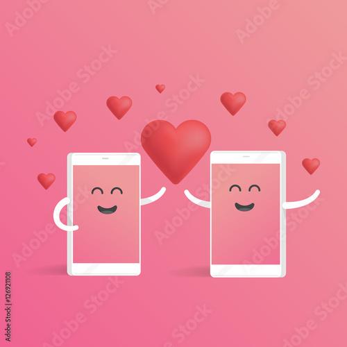 Smartphone love valentines day concept Fototapet