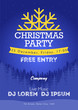 Christmas night party poster or flyer vector illustration. Merry christmas design template vector background