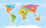 Mapa świata Planisphere. Wektoryzowane teksty francuskie