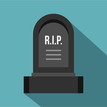 Headstone Icon. Flat Illustration Of Headstone Vector Icon For Web
