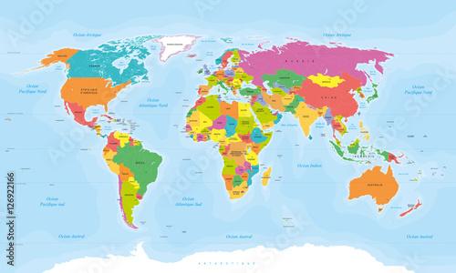 Planisphère Mappemonde. Textes en Français vectorisés