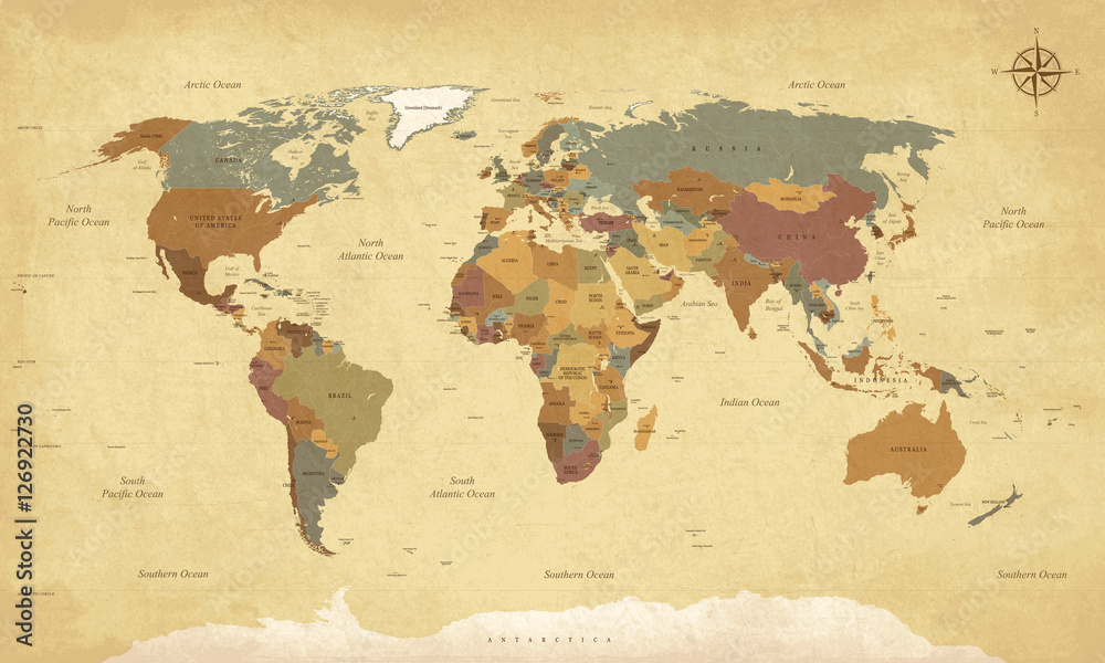 Fototapety, obrazy: Textured vintage world map - English/US Labels - Vector CMYK