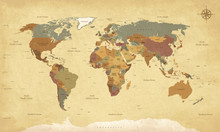 Textured Vintage World Map - E...