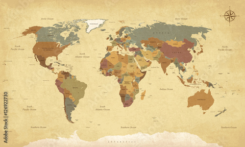 Foto auf Leinwand Weltkarte Textured vintage world map - English/US Labels - Vector CMYK