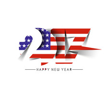 Happy New Year 2017 With U.S.A Flag Pattern