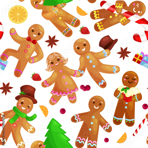 Cotton fabric Seamless pattern christmas cookies gingerbread man and girl decorated with icing dancing and having fun in a cap with the Christmas tree and gifts, xmas sweet food vector illustration