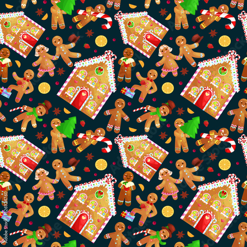 Cotton fabric seamless pattern christmas cookies gingerbread man and girl near sweet house decorated with icing dancing and having fun in a cap with the Christmas tree and gifts, xmas sweet food vector illustration