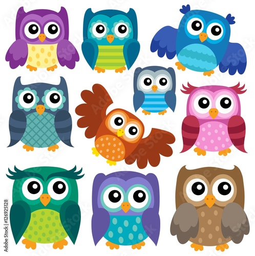 Foto op Aluminium Uilen cartoon Owl theme collection 1