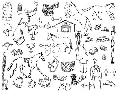 Fototapeta horse back doodles