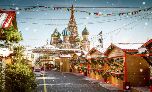 Christmas village fair on Red Square in Moscow, Russia