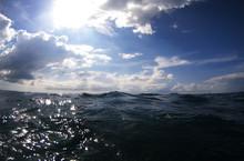 Ocean Wave Splitted By Waterline To Underwater Part