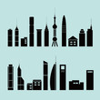 Different shapes of buildings, icons, flat style