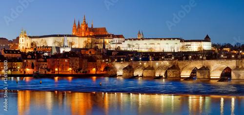 Fototapety, obrazy: Prague, Czech Republic - scenic view of Charles Bridge, Castle and St. Vitus at night